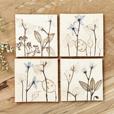 Handmade Tiles With Floral Imagery