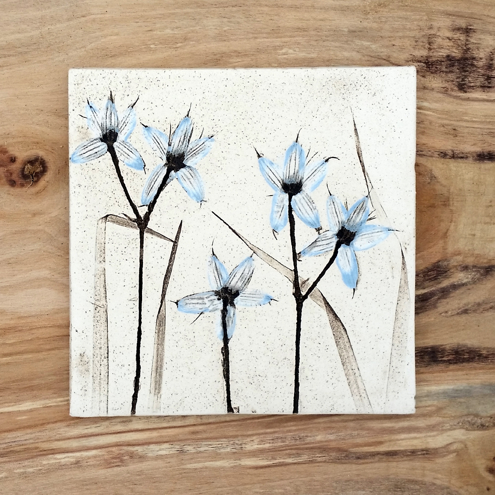 10cm Blue Flora and Fauna Tile