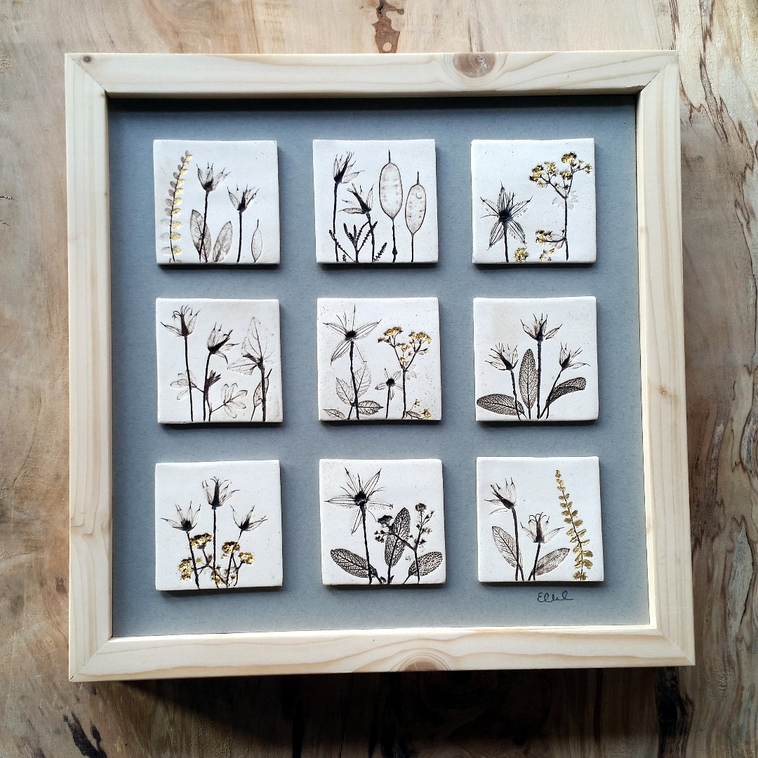Nine Framed Tiles With 24ct Gold Leaf