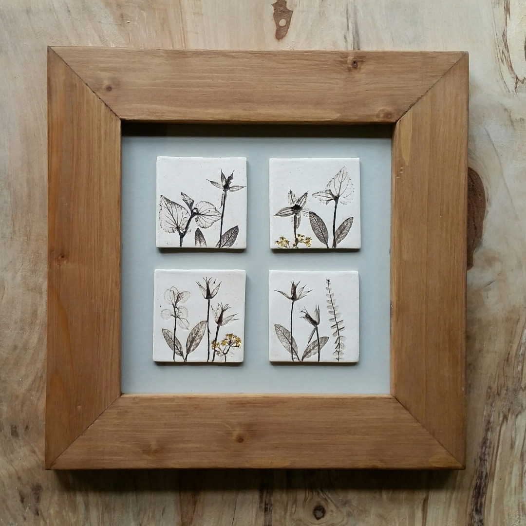 Four Framed Tiles With 24ct Gold Leaf