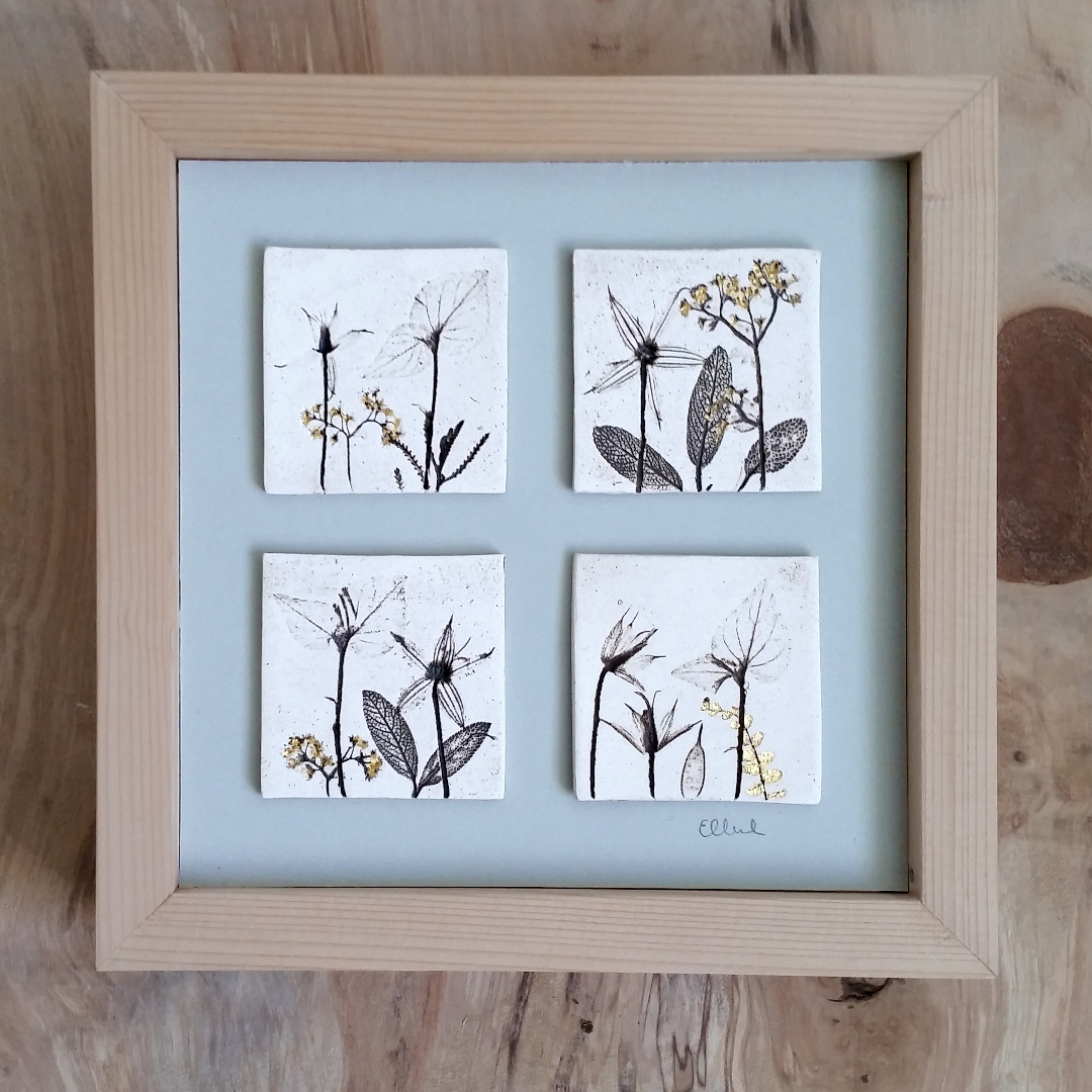 Four Box Framed Tiles With 24ct Gold Leaf