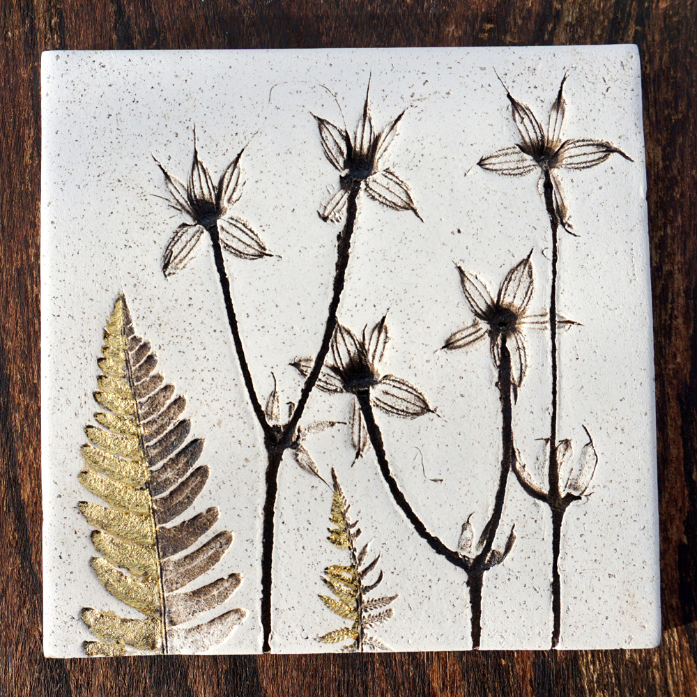 10cm Botanical Tile With 24ct Gold Leaf