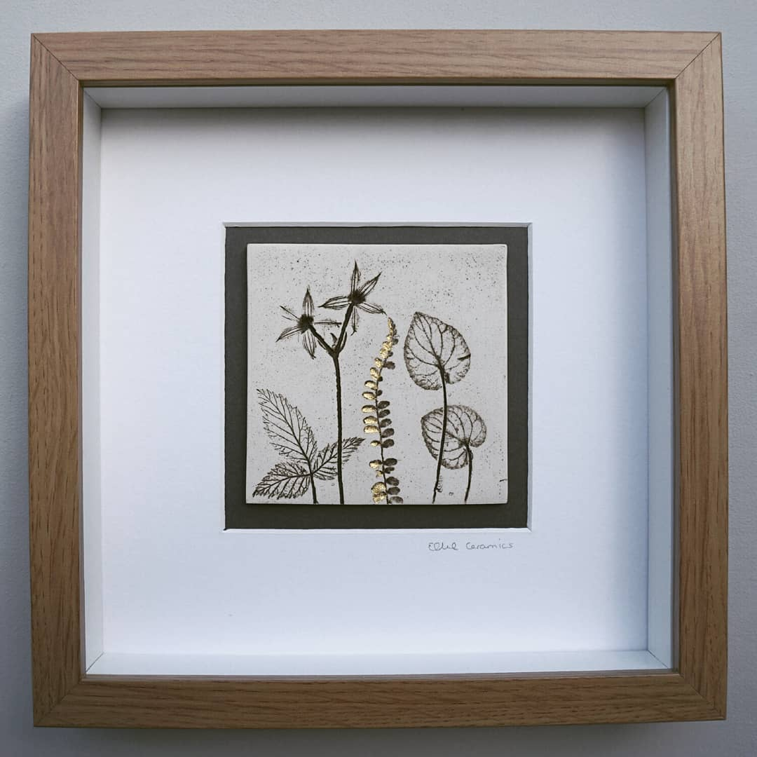 Box Framed Botanical Tile with 24ct Gold Leaf
