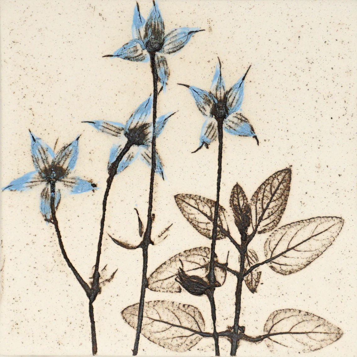 10cm Blue Botanical Tile