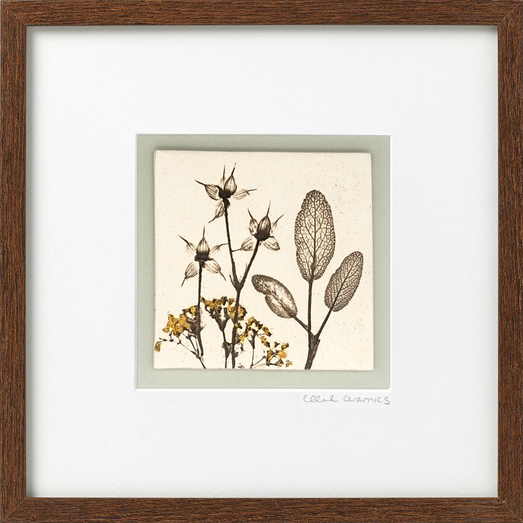 Framed Botanical Tile with 24ct Gold Leaf