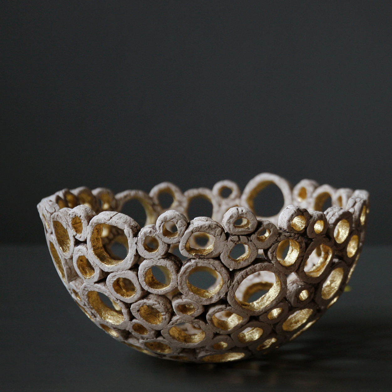 Circle Bowl With 24ct Gold Leaf