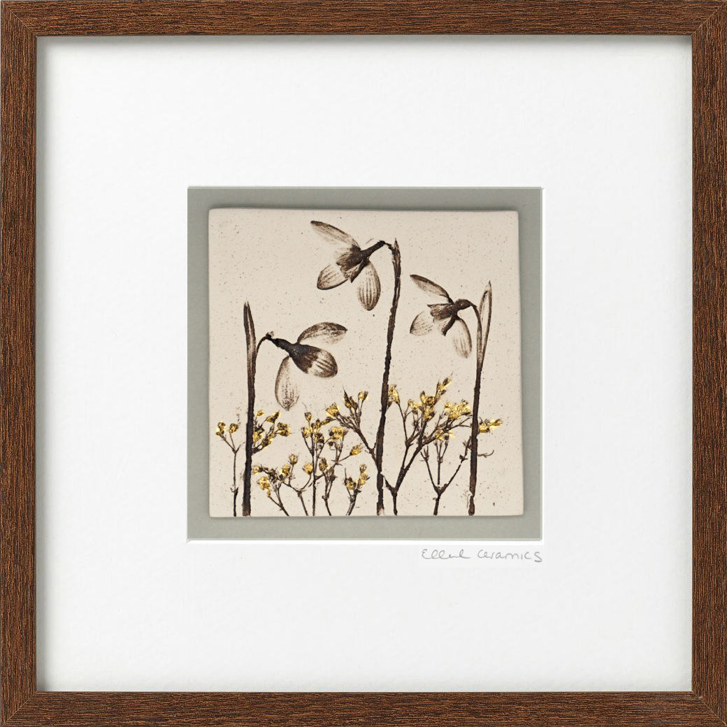 Framed Snowdrop Tile with 24ct Gold Leaf