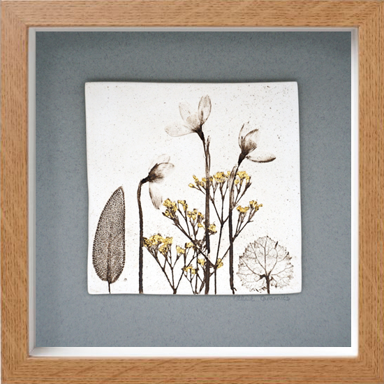 Box Framed Snowdrop Tile with 24ct Gold Leaf
