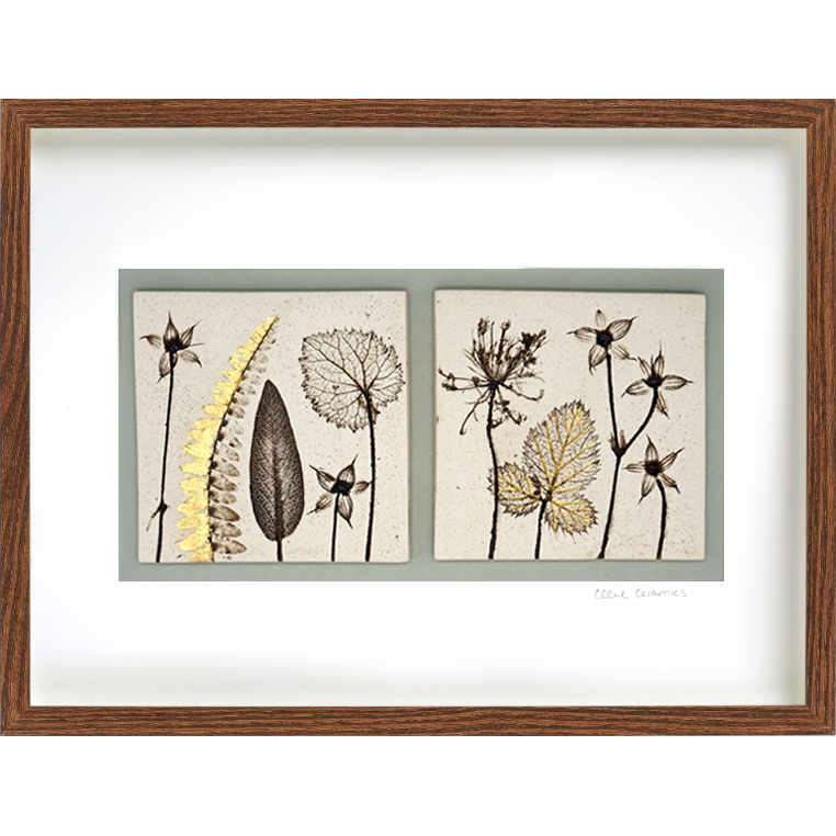 Two Framed Botanical Tiles With 24ct Gold Leaf